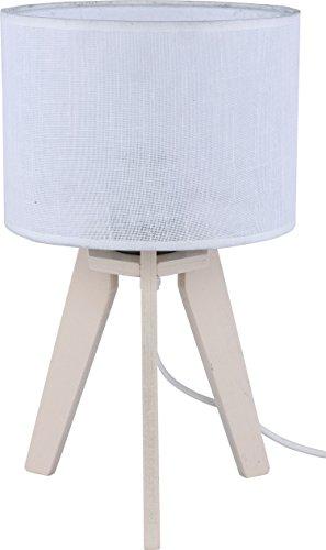 Lampe de table bois clair beige Abat-jour en tissu blanc Roue H 33 cm E27 Éclairage Lampe de chevet salon table basse Lampe de table
