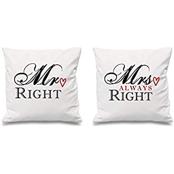 Cuscini Mr Right Mrs Always Right.Mr Right Mrs Always Right White Copricuscini 40 6 X 40 6 Cm Coppie