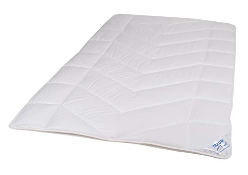 Traumnacht 5-Star Leicht, dünne und leichte Bettdecke, aus reinem Baumwolle-Satin, 200 x 200 cm, waschbar, weiß