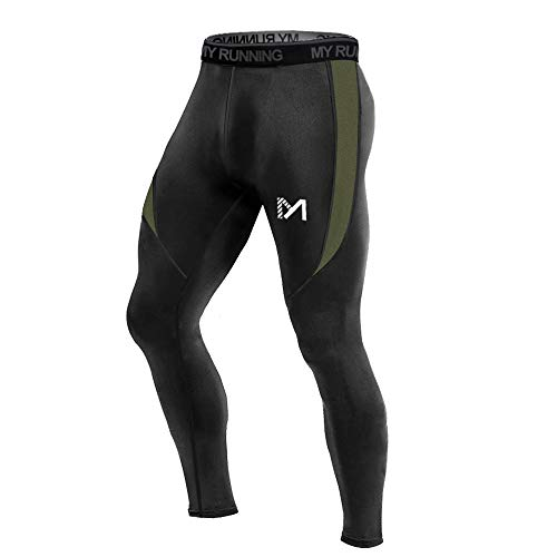 MEETYOO Legging Homme, Sport Pantalons et Compression Collant Cool Dry Fitness Musculation Respirant Base Layer pour Running Jogging Cyclisme Course - Noir-2 - S