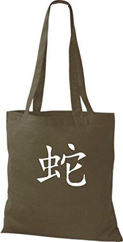 ShirtInStyle Stoffbeutel Chinesische Schriftzeichen Schlange Baumwolltasche Beutel, diverse Farbe olive green