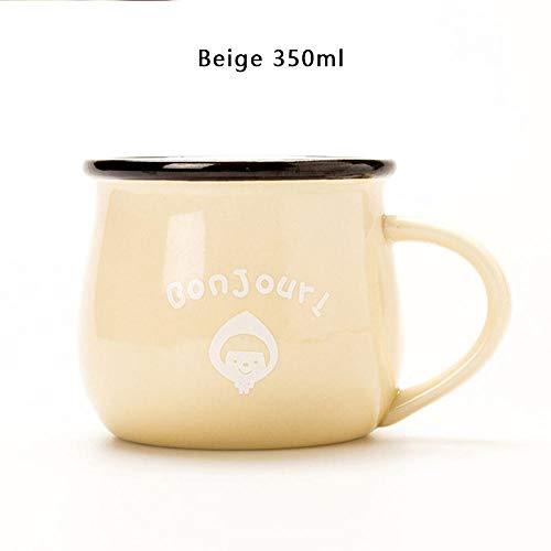 Espresso- & Mokkatassen,Retro Keramik Tasse Kreative Europäischen Stil Frühstück Becher Emaille Milch Tassen Nette Becher Tier Bild Kaffeetasse Schöne Geschenke-K 350 Ml
