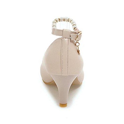 TAOFFEN Damen Mode Kitten Heel Pumps Mit Schnalle Office Schuhe Beige
