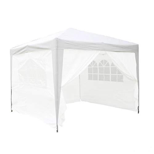 defacto® Pavillon 3x3m in weiß Faltpavillon Gartenzelt ✔ Popup ✔ PVC - wasserdicht ✔ Zwei Seitenwand (eine volle Wand EIN Fenster) ✔ Tragetasche✔16,1kg
