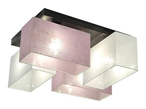 Deckenlampe - HausLeuchten JLS41WELID - 4 Varianten, Deckenleuchte, Leuchte, Lampe, 4-flammig, Massivholz (WEIß / LILA)