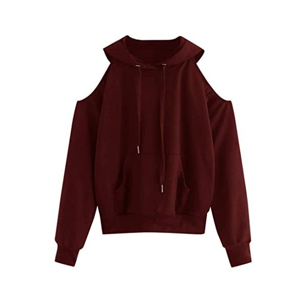 2018 Newest Women Hoodies Hevoiok Casual Fashion Sexy Off Shoulder Long Sleeve Solid Pocket Sweatshirt Pullover Tops