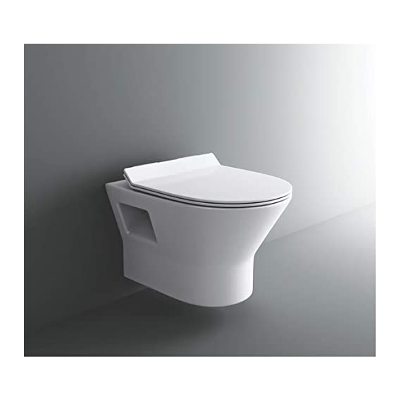 Ceramic Wall Hung/Wall Mounted Water Closet Rimless/Rimfree with Slim Seat Cover (White)