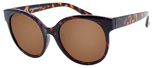 La Optica B.L.M. UV 400 CAT 3 Unisex Damen Frauen Sonnenbrille Rund Groß - Einzelpack Glänzend Tortoise (Gläser: Braun)_LO14 B-Brown