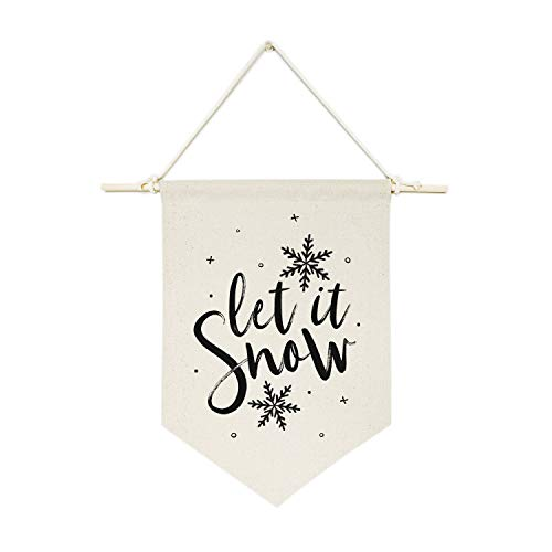 , Let It Snow Hanging Wall Canvas Banner, Holiday Decor, Party Supplies, Gift for Her, Festive, Home Decor, Custom 14 x 10 Incehs ()