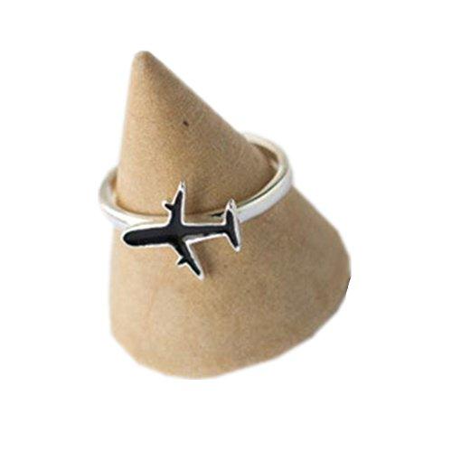 bigboba Cute Schwarz Ring Mini Flugzeug Verstellbare Öffnung Engagement Hochzeit Ring Paar Geschenk jewelry accessories
