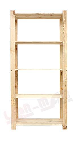 Len Mar.de B-27 - Scaffale in legno, 5 ripiani, per libreria, cantina, ufficio, 170 x 60 x 40 cm