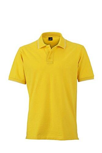 JAMES & NICHOLSON Polo in elastischer Piqué-Qualität sun-yellow/white