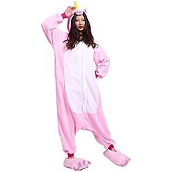 YUWELL Hombres Hombres Unisex Soft Fleece Kigurumi Animal Onesies Novedad pijama traje de noche (Rosa Unicornio) Tamaño L