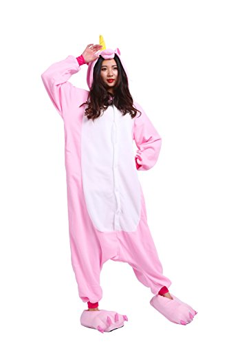 as Kostüm Jumpsuit Tier Schlafanzug Erwachsene Unisex Fasching Cosplay Karneval Unicorn , Neues rosa Einhorn M (Height:160-170cm) (Industrie-kostüme)