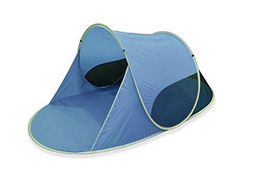 "Outent® Pop Up Wurfzelt Strandmuschel Strandzelt ""Sunray II"" blau - 245 x 145 x 100 cm - UV-Schutz: 50+"