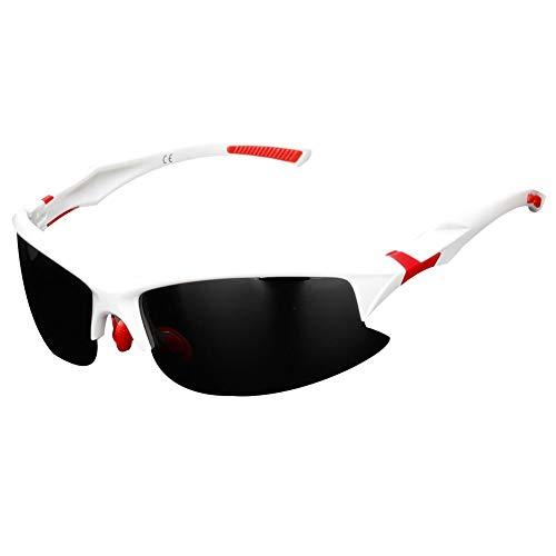 Sytauuan Unisex Professionelle polarisierte Fahrrad-Sonnenbrille Sport Outdoor Goggle, weiß/rot
