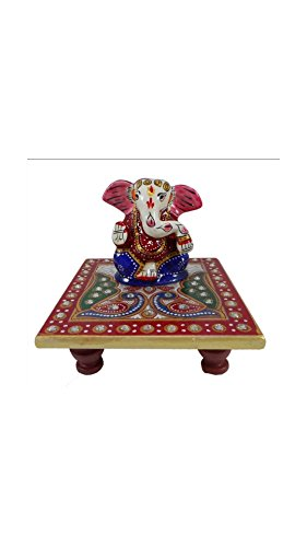 SHINING WINGS - Marble Chowki Ganesha Idol (10 cm x 10 cm x 10 cm) - Marble Chowki Ganesha |Marble Chowki Ganesh | Small Solid Modern Ganash Statue Engraved with Stones Hindu Religious Gifts Indian Decor a Perfect Idea for House Warming Gift, Ganpati Ganesh Idol Great Size for Small Home,Hindu Indian Elephant God Figurine Statue Sculpture, Statue of Lord Ganesha Mosaic Statue with Marble Choki, Modern Articraft Design in Red and Green  available at amazon for Rs.379
