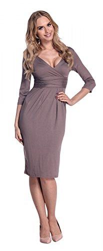 Glamour Empire. Damen exklusives Jersey Kleid V-Ausschnitt Wickeloptik . 001 Cappuccino