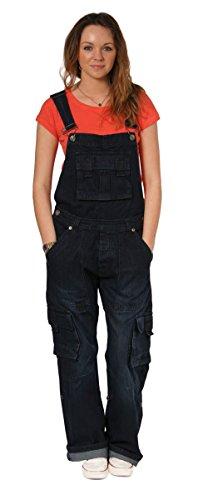 Latzhose, Cargo Taschen - Dark Wash Damen Männer Denim Jeanslatzhosen Jeans-Latz PEV06-M