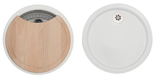 Rieber Einbauspüle Set E 39 weiß, Küchenspüle MADE IN GERMANY korrosionsbeständig & lichtecht Emaillierte Spüle 1 Becken und 1 Tropfmulde je ø 451 mm Spülbecken rund