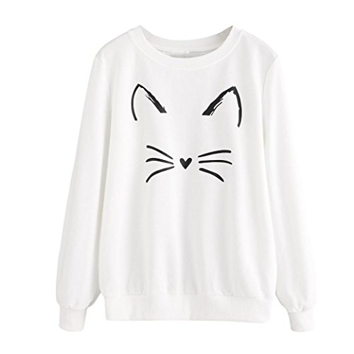 Leey Damen Mädchen Pullover Oberteile Lange Ärmel Sweater Tops Warm Sweatshirt Elegant Katze Gedruckt Streetwear Pulli T-Shirt Mode Kausal Rundhals Hemd (S, Weiß)