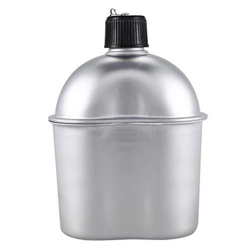 Moligh doll Au?en Sport Aluminium Legierung Wasser Kocher Kantine Wasser Kocher + Armee GrüNen Stoff Abdeckung Camping Picknick Geschirr -