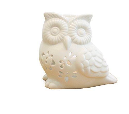 Home-Öl-Öfen (toim Milch weiß Keramik Hohl Floral Aroma Lampe Kerze Warmers Duft Wärmer Öl Diffusor ätherisches Öl Lampe Aromatherapie Ofen Keramik Räuchergefäß Wax Melt Wärmer Owl Shaped)