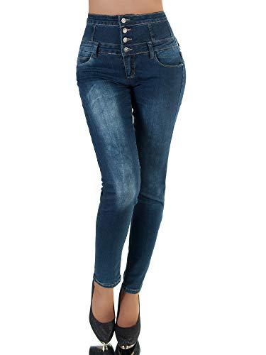 P174 Damen Jeans Hose Corsage Damenjeans High Waist Röhrenjeans Hochbund, Farben:Blau, Größen:36 (S)