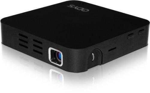 mini projecteur DLP Odys Picto II avec haut-parleurs et la batterie Li-Polymer (WVGA 854 x 480 pixels, Rapport de contraste 1000: 1, 80 ANSI lumens, HDMI) noir