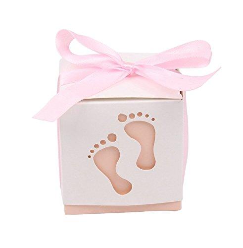 � Gastgeschenke Taufe Baby-Süßigkeit Baby Candy Box Candy Flaschen Geschenk Box Baby-Dusche-Bevorzugungen Taufe Geschenk (Rosa) ()