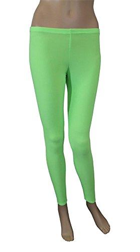 Islander Fashions Womens Microfiber Crazy Chick Neon Legging Ladies Gym Abbigliamento da ballo Stretch Pants S / XL Neon Green