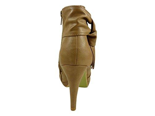 Boot Mit Tablett und Heels Nadeln mit einer Schleife Modeschmuck Beige - Taupe
