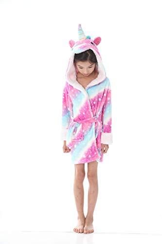 Kinder Unicorn Kapuzen Robe Coral Nachtwäsche Weichen bequemen Schlaf Bademantel