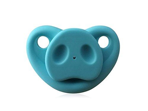 QWhing Kreativ Kreative Silikon Baby Infant Schnuller Nippel Beißring Baby Schnuller Pflege Nippel Schwein Nase (Blau) Heimzubehör - Schwein-schnuller