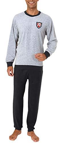 Langer Herren Frottee Pyjama, Schlafanzug mit Bündchen - 61694, Größe2:50, Farbe:grau-Melange