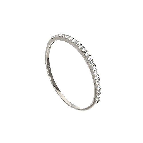 Anello impilabile veretta di pietre cz in oro bianco 9ct - misura 11,5 (disponibile nelle misure 8-23)