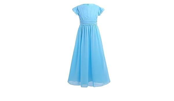 9a6d480052c588 iiniim iiniim Mädchen Kleid Prinzessin Kleid Blumenmädchenkleid aus Chiffon  A-Linie Plissiert Festlich Hochzeit Party Langes Abendkleid Gr.104-164 Blau  ...