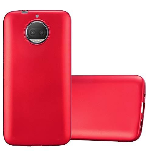Cadorabo Hülle für Motorola Moto G5S Plus - Hülle in METALLIC ROT - Handyhülle aus TPU Silikon im Matt Metallic Design - Silikonhülle Schutzhülle Ultra Slim Soft Back Cover Case Bumper