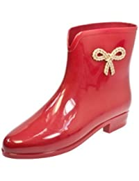 Mel Boot Women Red Ankle Bow Boots