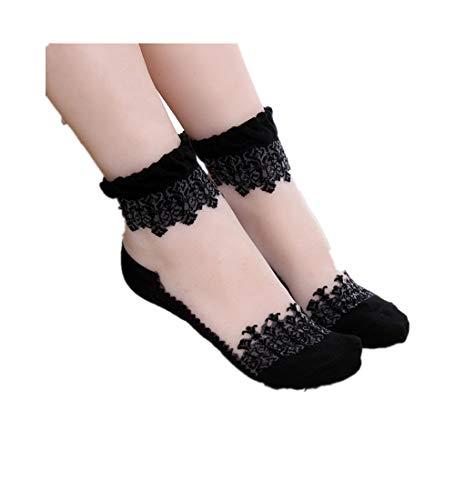 KPILP 1 Paar Damen Sneakersocken Weiche Ultradünne Transparente Strümpfe Elegante Schöne Kristallspitze Elastische Kurze Socken Freizeitsocken,Schwarz1
