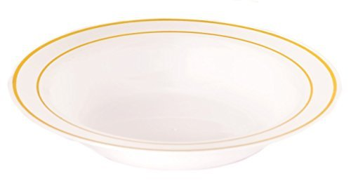 the-kaya-collection-12oz-white-plastic-bowl-with-gold-rim-10-count-by-kaya-collection