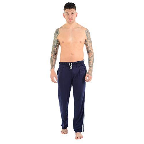MyShoeStore®, lange Jogginghose für Herren, Nachtwäsche, Freizeitkleidung, einfarbig, casual, leichte Fitnesshose für Erwachsene Gr. L, navy -