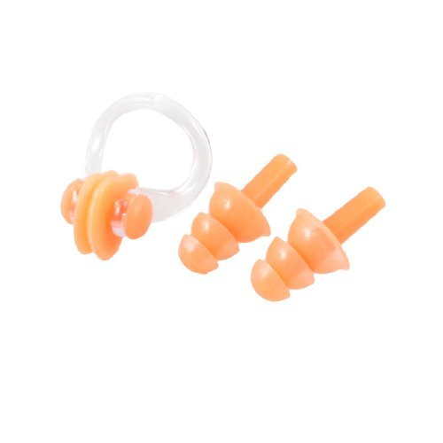 DealMux Schwimmen-Schwimmen orange weichen Silikon-Ohrstöpsel Kunststoff-Nasen-Klipp w Fall Set