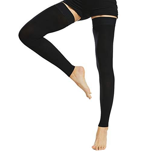 Beister medical - calze a compressione senza piede, con fascia in silicone, per donne e uomini, 20-30 mmhg, supporto graduato per vene varicose, edema, volo