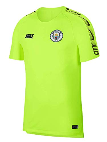 Nike Herren Manchester City FC Breathe Squad Top Short-Sleeve Trainingstrikot, Volt Dark Obsidian, XL