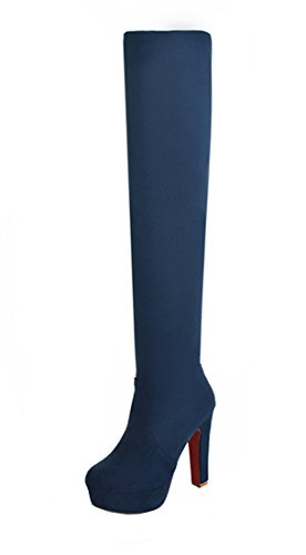 YE Damen Stretch Overknee Blockabsatz Stiefel Wildleder High Heels Plateau Boots mit 12CM Heels Absatz Winterschuhe Blau