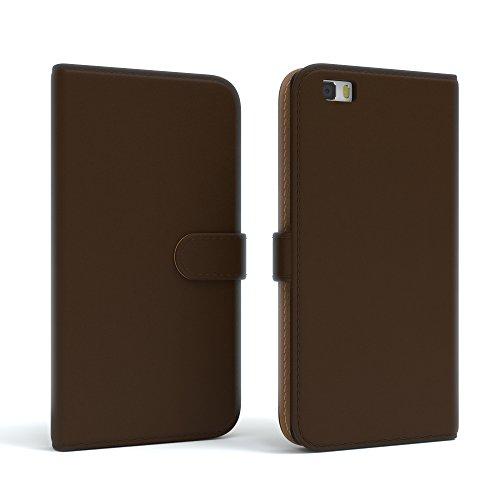 Huawei P8 Lite (2015) Hülle - EAZY CASE Premium Flip Case Handyhülle - Schutzhülle in Braun Braun (Book)