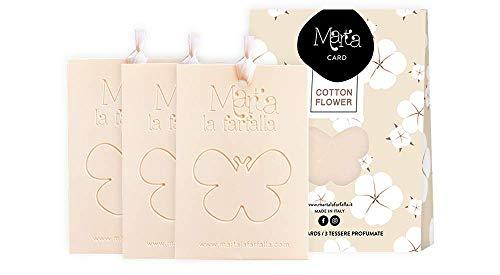 Marta La Farfalla Tessere profumate appendibili per armadi e cassetti Kit da 3pz profumazione Cotton Flower