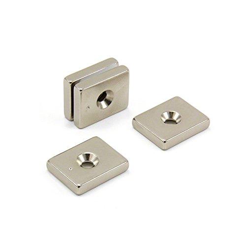 Magnet Expert® 25 x 20 x 5mm x 4,5mm fraisée N42 néodyme aimant, 9,8kg force d'adhérence, pack de 4