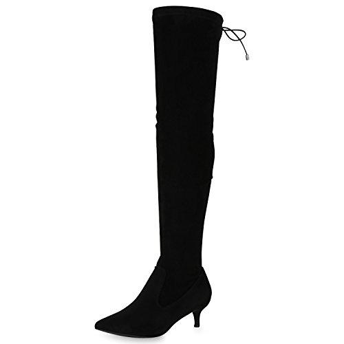 SCARPE VITA Damen Overknees Stiefel Stilettos Kitten Heels Gefütterte Schuhe 165548 Schwarz 40